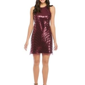 NWT Vince Camuto plum sequin sheath mini dress, 8